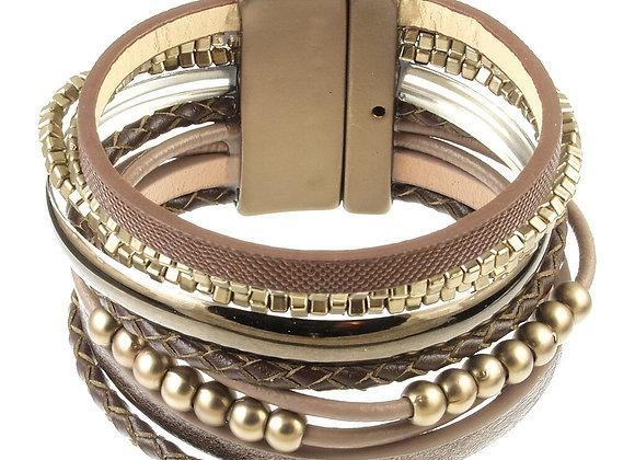 Multi Strand Brown Magnetic Bracelet