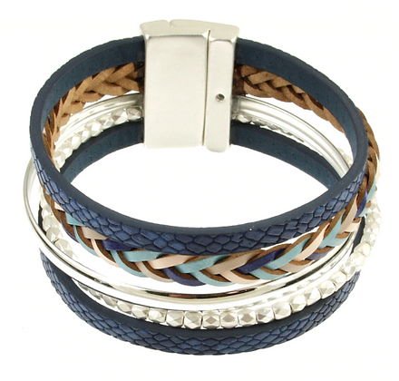 Navy and Silver Magnetic Bracelet