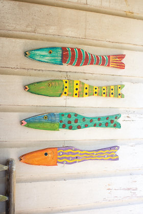set of 4 recycled wood folk art with sealife