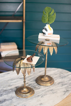 set of 2 palm tree display stands with glass tops