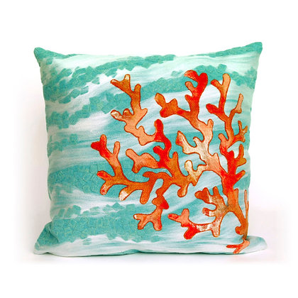 "Visions II Coral Wave Indoor/Outdoor Pillow 20""Square"