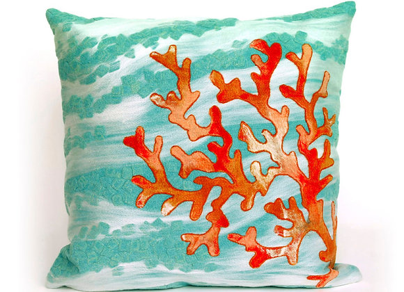"""Visions II Coral Wave Indoor/Outdoor Pillow 20""""Square"""