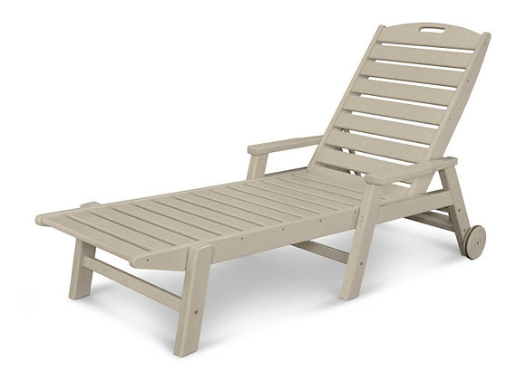 POLYWOOD® Nautical Chaise w/ Arms & Wheels NCW2280