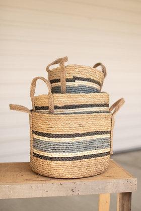 set of 3 round rush baskets \ blue