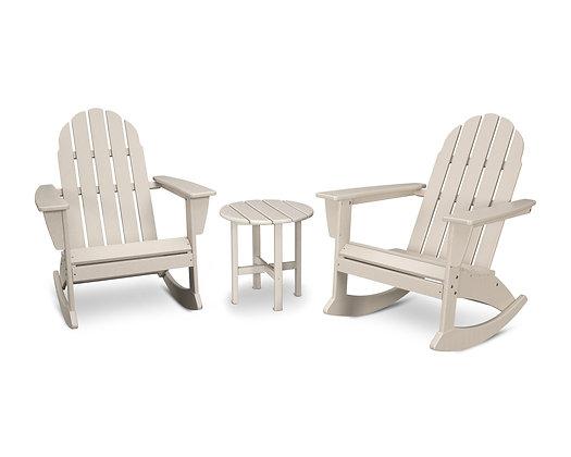 Quick Ship POLYWOOD® Vineyard 3-Piece Adirondack Rocking Chair Set PWS408-1