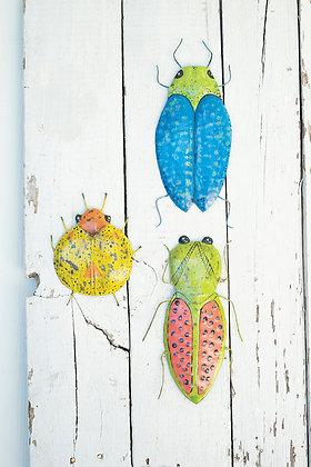set of 3 distressed painted metal beetles wall ar
