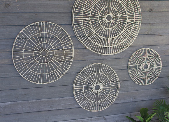set of 4 wire wrapped hand made paper discs wall art