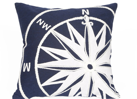 "Visions II Compass Indoor/Outdoor Pillow 20""Square"