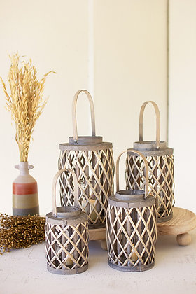 set of 4 grey willow cylinder lanterns with glass inserts