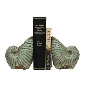 Terra-cotta Shell Vases/Bookends, Distressed Aqua, Set of 2