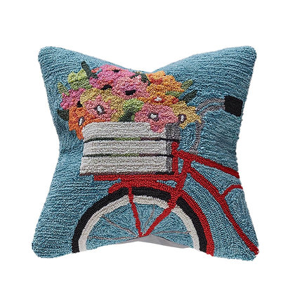 "Frontporch Bike Ride Indoor/Outdoor Pillow 18""Square"