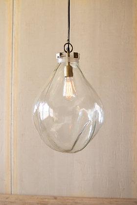 Glass teardrop pendant light