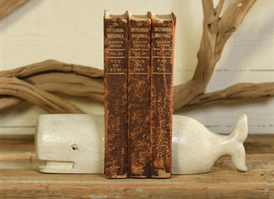WHALE BOOKENDS - CAST IRON - WHITE