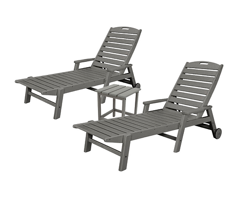 POLYWOOD® 3-PC Nautical Chaise w/ Arms & Wheels SET