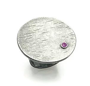 Large Circle Ring with Gemstone
