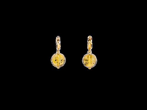 "Silver earrings ""Lemon'' with amber"