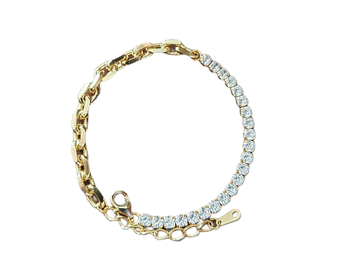 Silver bracelet ''ARETE'' with white zirconia