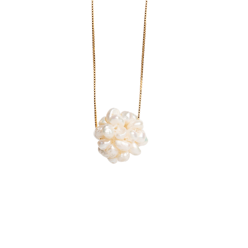 Silver necklace with white pearls pendant GILDED