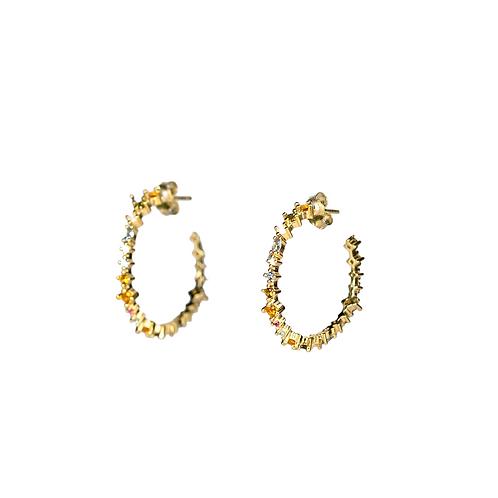 Silver circle Hoop earrings ''Summer'' GILDED multicolor zirconia