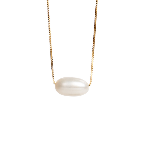 Silver necklace with white pearl GILDED