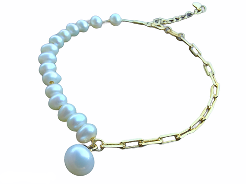 Silver bracelet with white pearls GILDED OR ROD COVERED