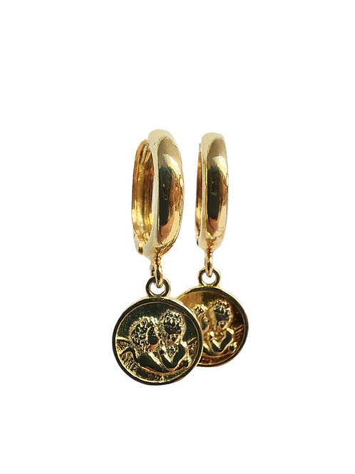 Silver earrings wit pendants ''Angels '' GILDED
