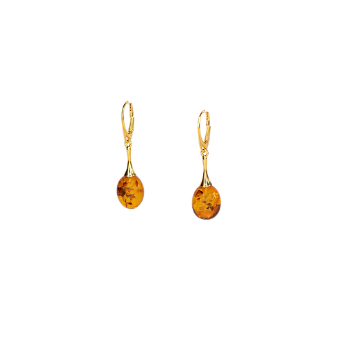 Silver earrings ''Gilded'' with Baltic amber