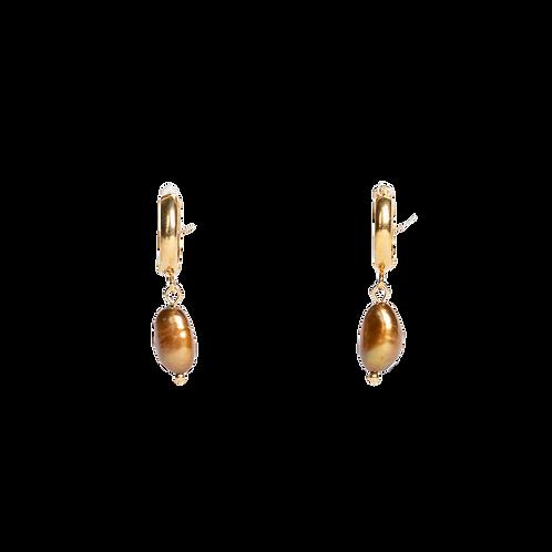 Silver earrings ''Brown pearls''
