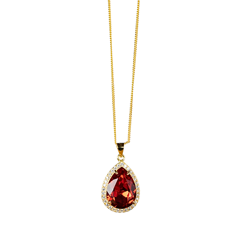 Silver necklace with crystal ''Royal red'' GILDED