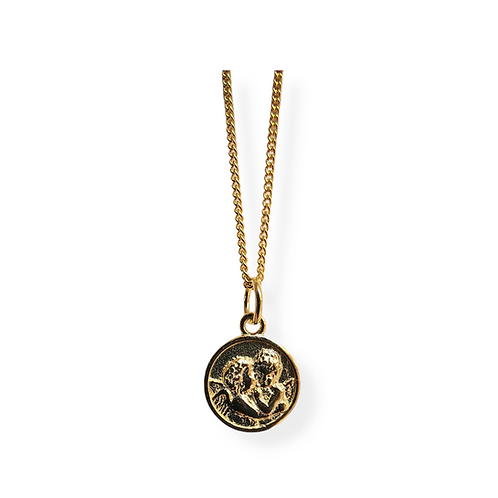 Silver necklace with  pendant medallion'' Two angels '' GILDED