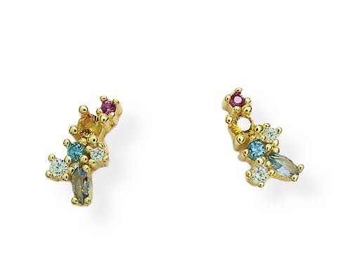 "Silver earrings ""Summer'' wtih multicolor zirconia"