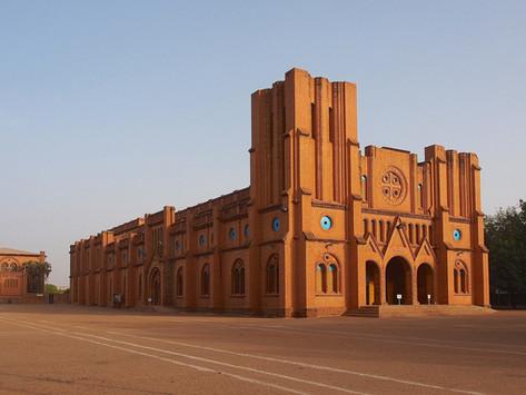 Ouagadougou Cathedral, Kenyatta International Convention Centre and Tanzania ports authority tower,