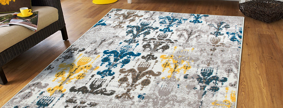 Distressed Area Rugs on Clearance Gray, Yellow, Blue
