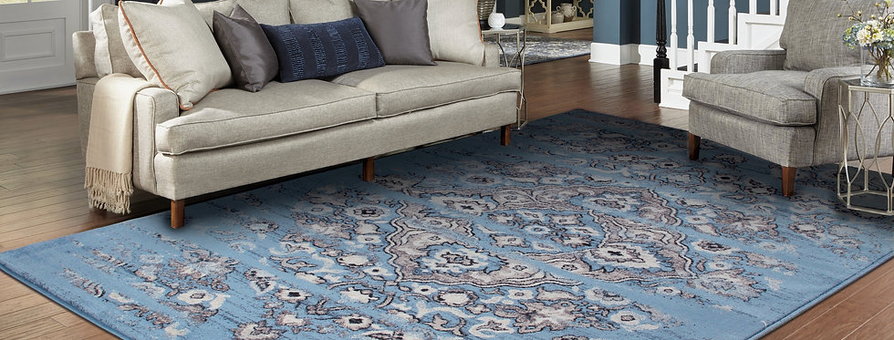 Traditional Distressed Rugs Blue