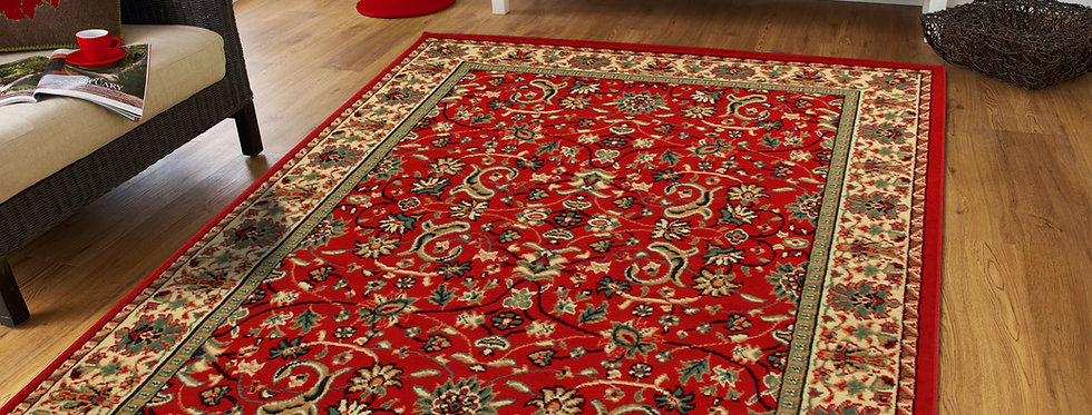 Traditional Floral Area Rugs Red