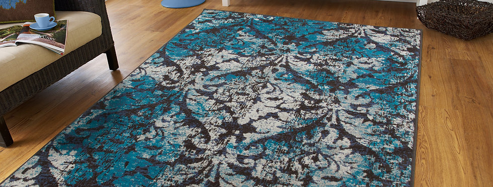 Modern Distressed Area Rugs Navy, Gray, Black, Teal