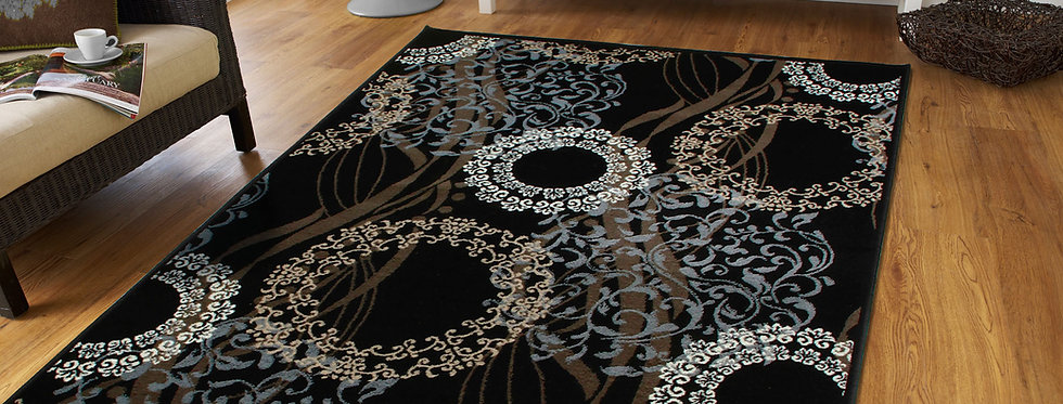 Luxury Area Rugs for Living Room, Black