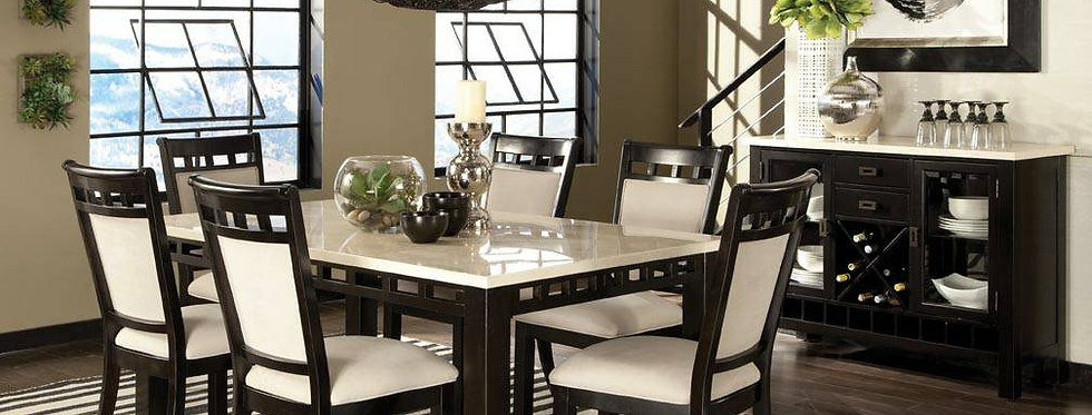 7 pcs Dining Table Set with 6 Chairs Jet Collection