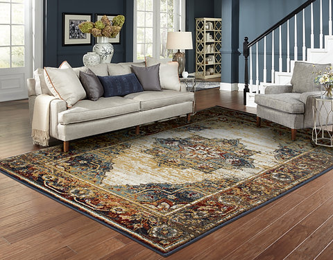 Traditional Distressed Rugs Blue Reds Living Room Rug Home