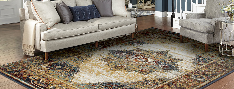 Traditional Distressed Rugs Blue Reds Living Room Rug