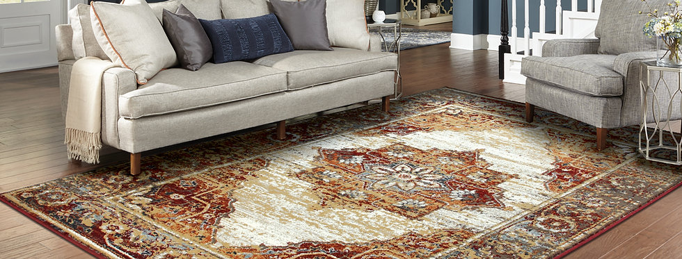 Traditional Distressed Rugs Red Living Room Rug