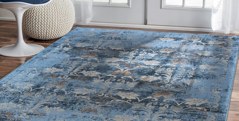 Distressed Area Rugs For Living Rooms, Blue