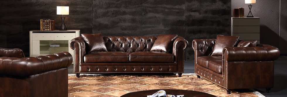 Chesterfield Leather Sofa Includes all 3 pcs