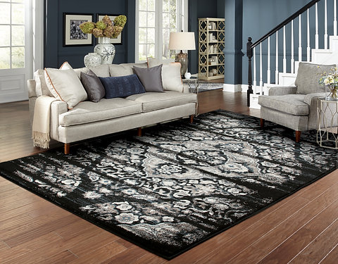 Traditional Distressed Rugs Black Living Room