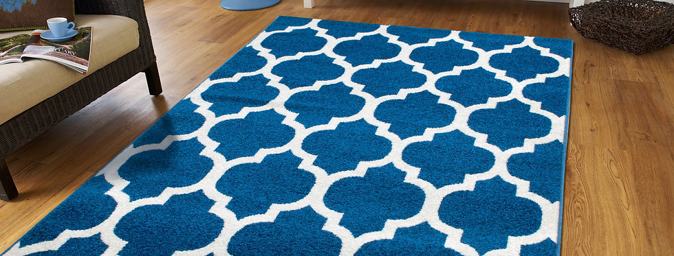Blue Moroccan Trellis Rugs For Living Room