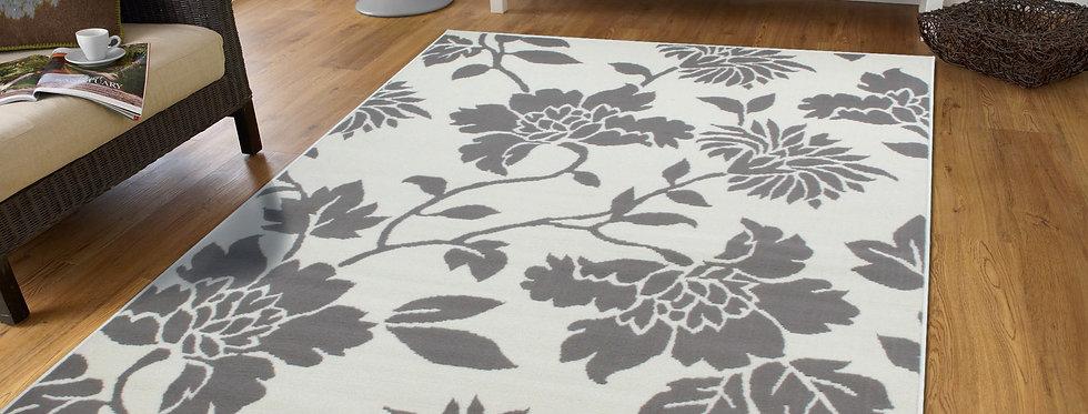 Modern Gray Flowers Rugs
