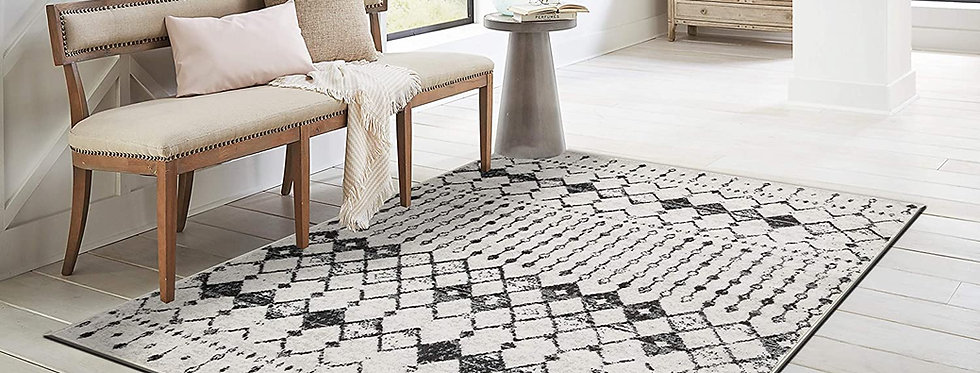 Modern Area Rugs Gray/Off White Moroccan