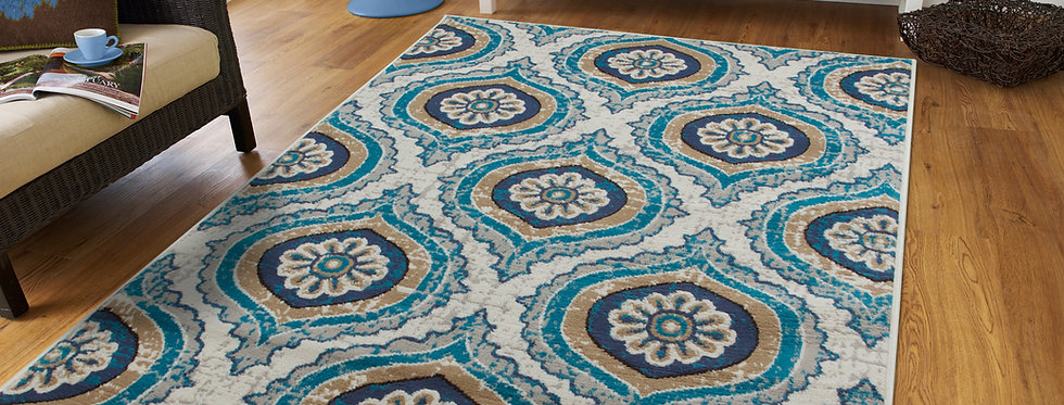 Modern Area Rugs For Living Rooms Ivory and Teal