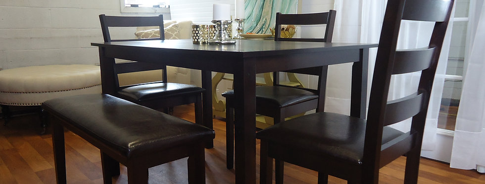 5 pcs Dining Table Set with 3 Chairs Bench