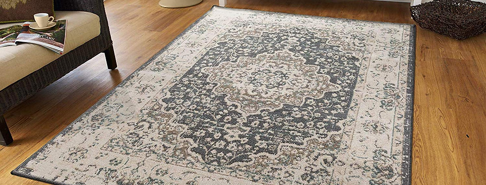 Traditional Distressed Area Rugs Living Room, Gray